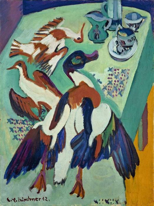 Still Life with Duck and Snipe, 1920 by Ernst Ludwig Kirchner (1880-1938, Germany) | Oil Painting | WahooArt.com