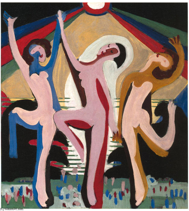 Colourful Dance, Oil On Canvas by Ernst Ludwig Kirchner (1880-1938, Germany)