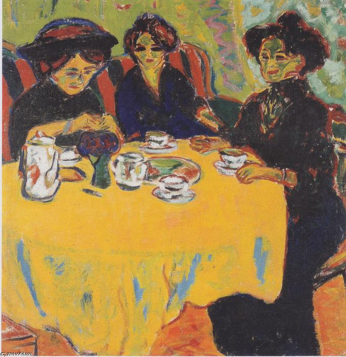 Coffee Drinking Women, 1907 by Ernst Ludwig Kirchner (1880-1938, Germany) | Oil Painting | WahooArt.com