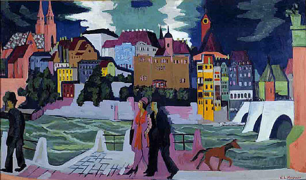 View of Basel and the Rhine, 1928 by Ernst Ludwig Kirchner (1880-1938, Germany) | Art Reproduction | WahooArt.com