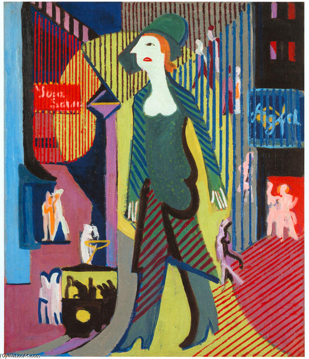 Woman is Walking over a Nighty Street, 1929 by Ernst Ludwig Kirchner (1880-1938, Germany) | WahooArt.com