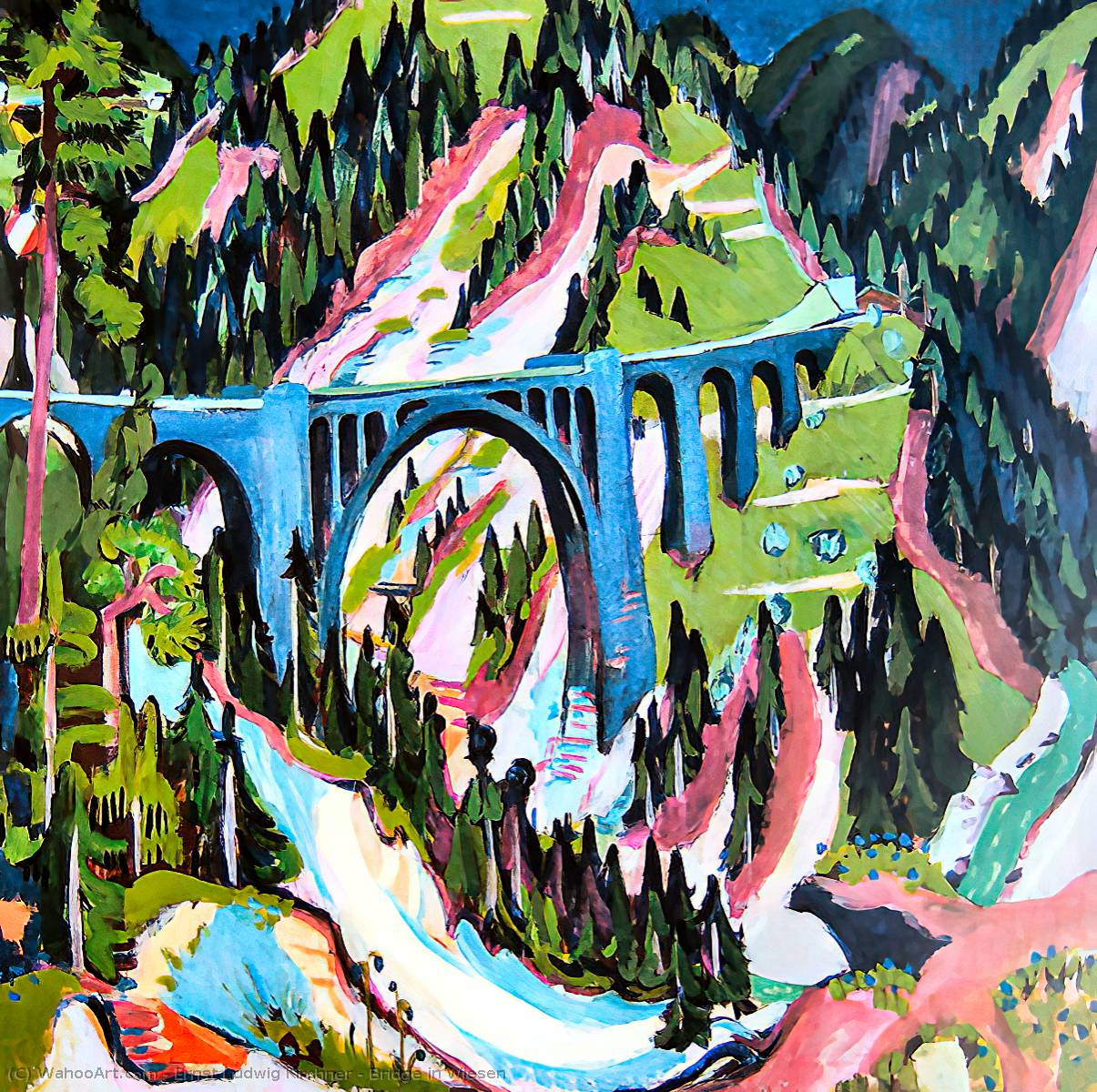 Bridge in Wiesen, Oil On Canvas by Ernst Ludwig Kirchner (1880-1938, Germany)