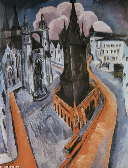 The Red Tower in Halle, 1915 by Ernst Ludwig Kirchner (1880-1938, Germany) | WahooArt.com
