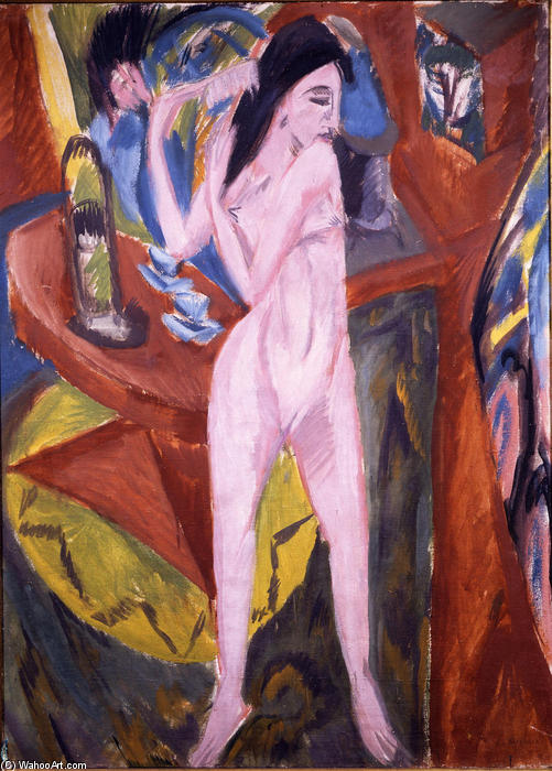 Nude Woman Combing Her Hair, Oil On Canvas by Ernst Ludwig Kirchner (1880-1938, Germany)
