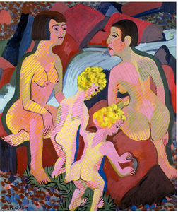Ernst Ludwig Kirchner - Bathing Women and Children