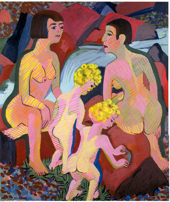 Bathing Women and Children, 1932 by Ernst Ludwig Kirchner (1880-1938, Germany) | WahooArt.com