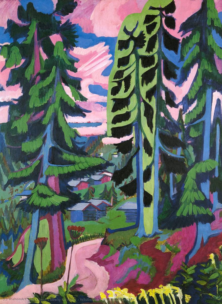Wildboden Mountains Forest, 1928 by Ernst Ludwig Kirchner (1880-1938, Germany) | Oil Painting | WahooArt.com