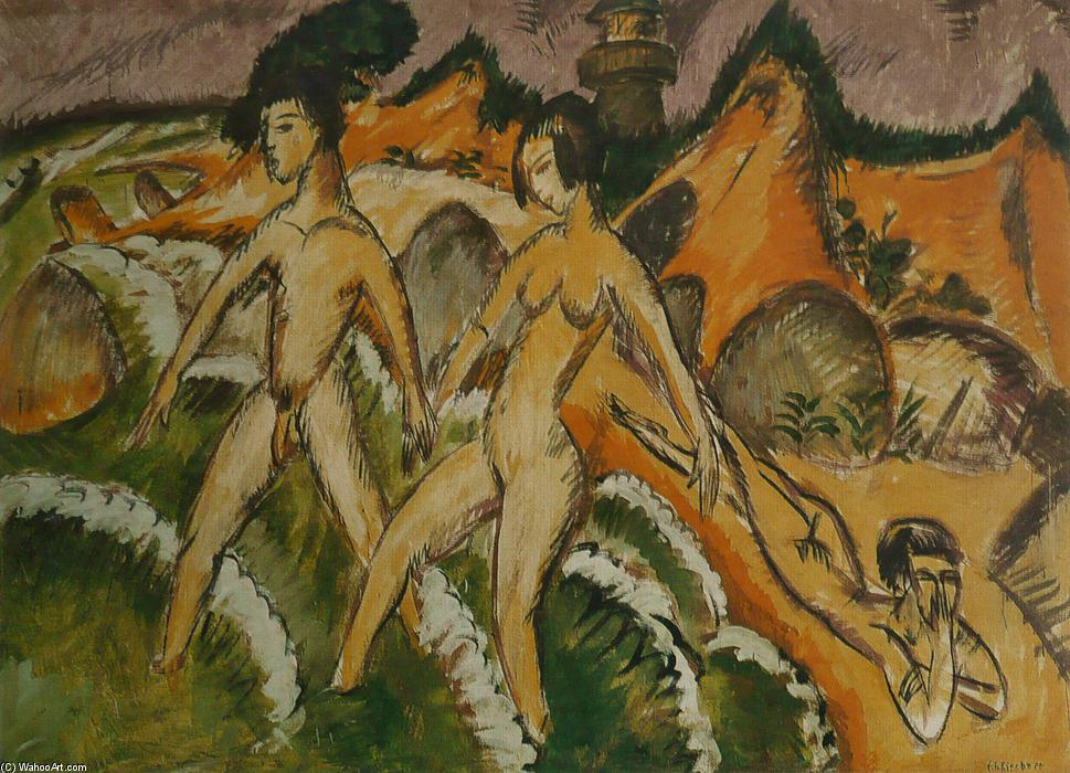 Female Nudes Striding into the Sea, Oil On Canvas by Ernst Ludwig Kirchner (1880-1938, Germany)