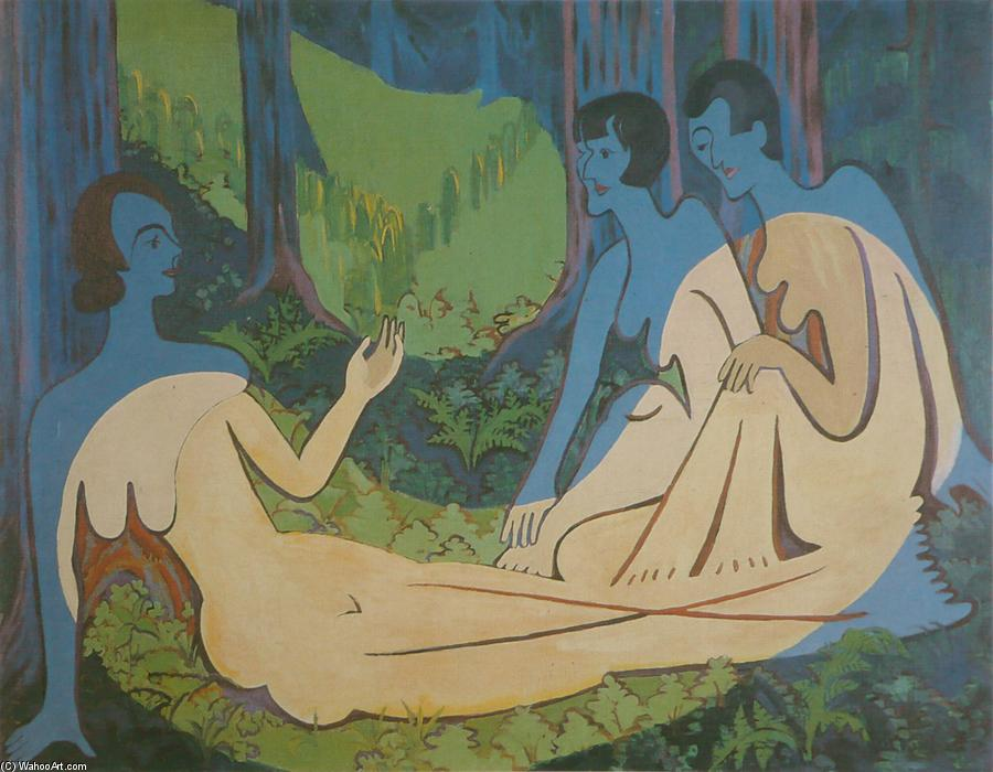 Three Naked in the Forest, 1935 by Ernst Ludwig Kirchner (1880-1938, Germany) | Oil Painting | WahooArt.com