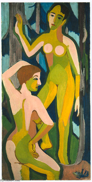 Two Nudes in the Wood II, 1926 by Ernst Ludwig Kirchner (1880-1938, Germany) | WahooArt.com