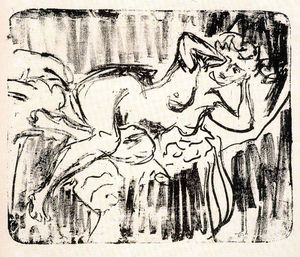 Ernst Ludwig Kirchner - Reclining Female Nude