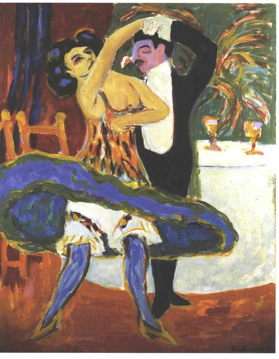 English Dance Couple, Oil On Canvas by Ernst Ludwig Kirchner (1880-1938, Germany)