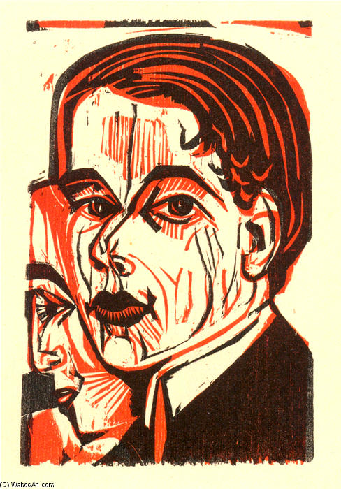 Man`s Head. Self-portrait, 1926 by Ernst Ludwig Kirchner (1880-1938, Germany) | Museum Quality Reproductions | WahooArt.com
