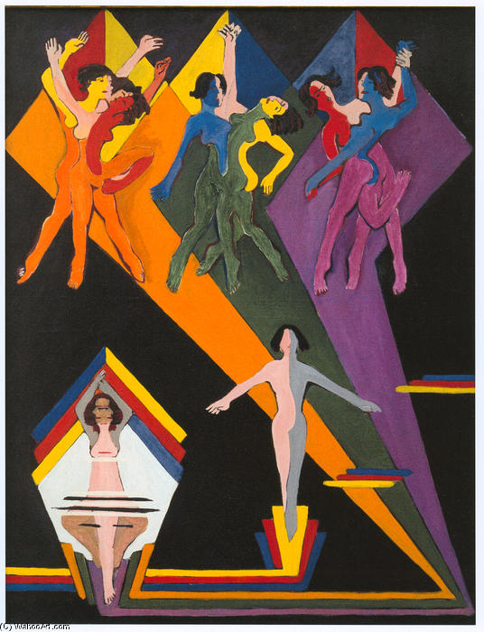 Dancing Girls in Colourful Rays, Oil On Canvas by Ernst Ludwig Kirchner (1880-1938, Germany)