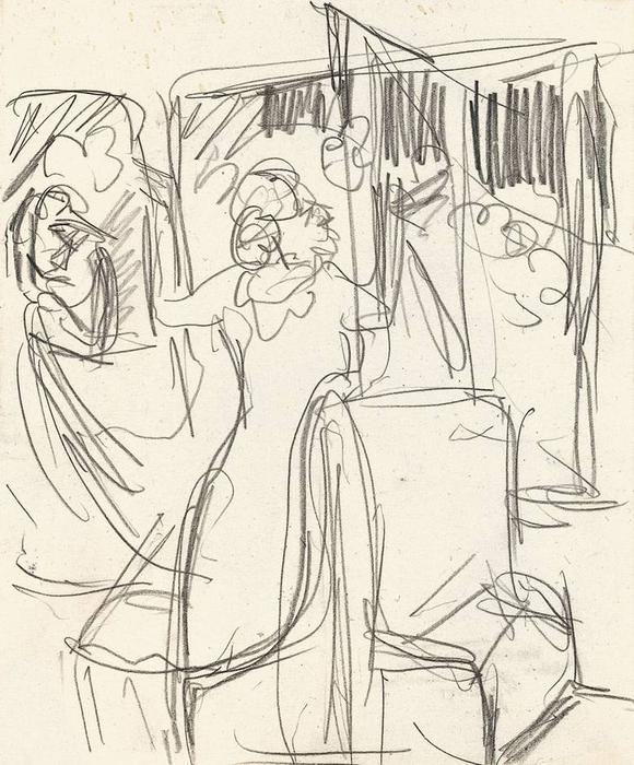 The Railway, Pencil by Ernst Ludwig Kirchner (1880-1938, Germany)