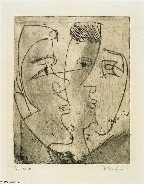Three Faces, 1929 by Ernst Ludwig Kirchner (1880-1938, Germany) | WahooArt.com