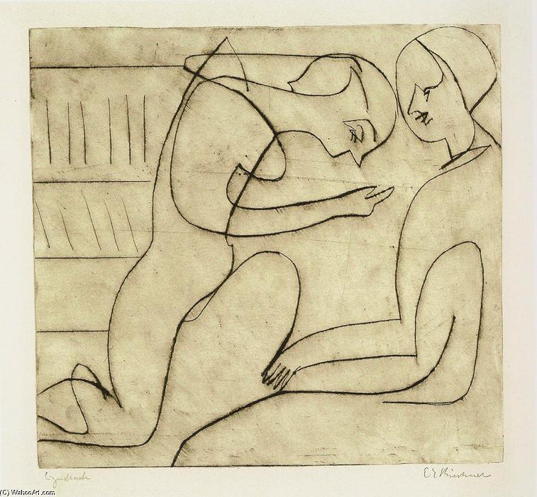 Lovers in the Bibliothek, Etching by Ernst Ludwig Kirchner (1880-1938, Germany)