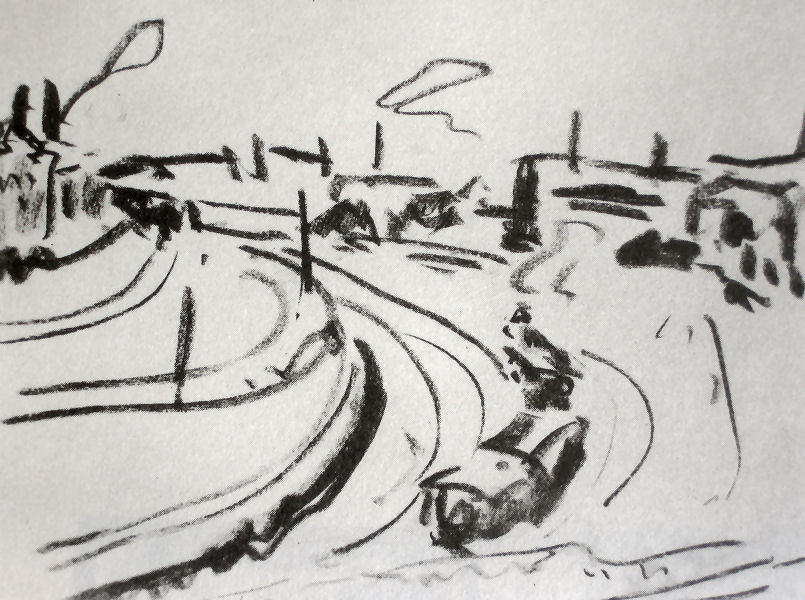 Railway in Dresden, Chalk by Ernst Ludwig Kirchner (1880-1938, Germany)