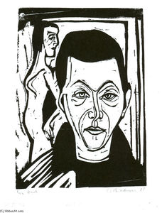 Ernst Ludwig Kirchner - Man-s Head. Self-portrait
