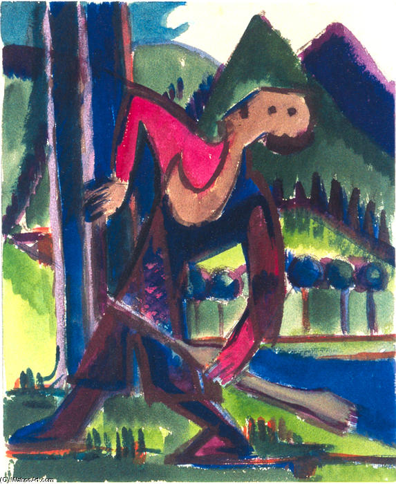 Boy with Arrow, 1928 by Ernst Ludwig Kirchner (1880-1938, Germany) | WahooArt.com