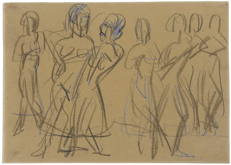 Dance Group of the Mary Wigman School in Dresden, 1926 by Ernst Ludwig Kirchner (1880-1938, Germany)