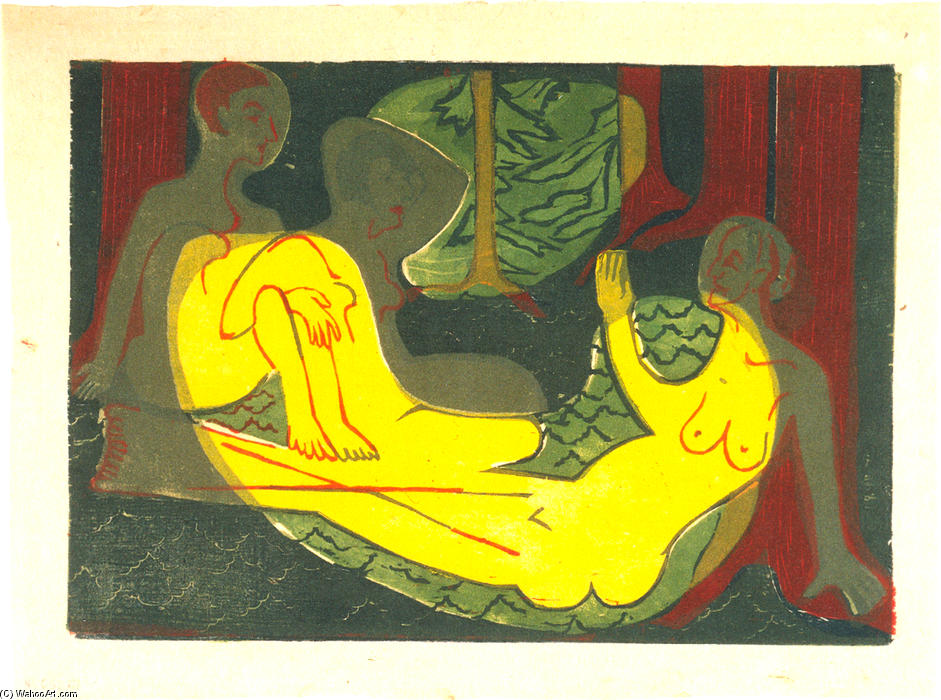Three Nudes in the Forest, 1933 by Ernst Ludwig Kirchner (1880-1938, Germany)