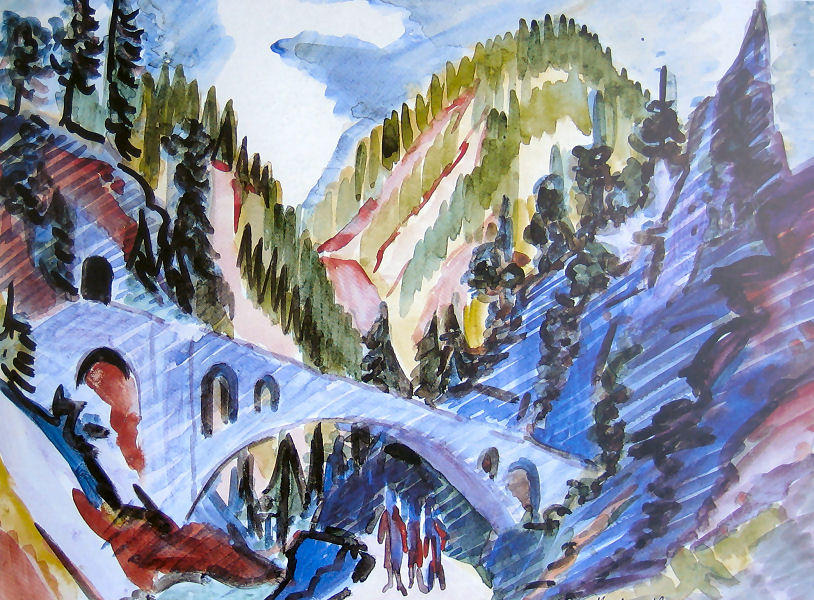Bridge in Landwassertal, 1919 by Ernst Ludwig Kirchner (1880-1938, Germany) | WahooArt.com