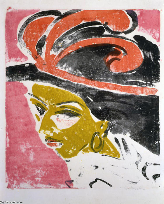 Kokottenkopf with Feathered Hat, 1910 by Ernst Ludwig Kirchner (1880-1938, Germany) | WahooArt.com