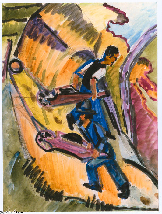 Men with Wheelbarrows, 1927 by Ernst Ludwig Kirchner (1880-1938, Germany) | WahooArt.com