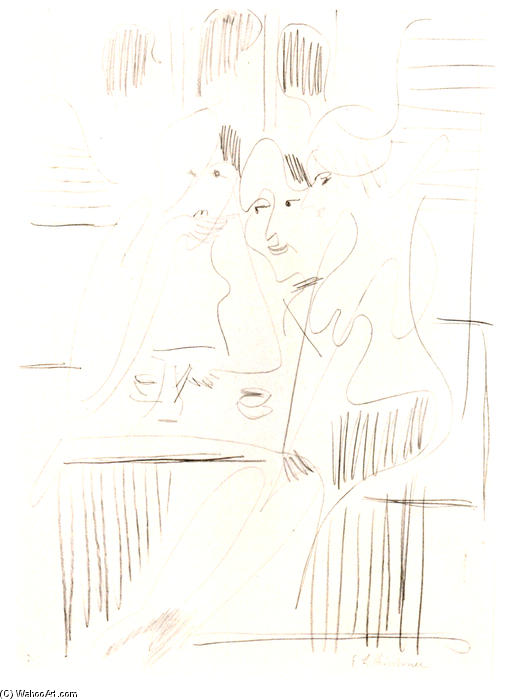 Three Women in a Cafe, Pencil by Ernst Ludwig Kirchner (1880-1938, Germany)