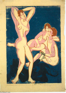 Ernst Ludwig Kirchner - Three Nudes and Reclining Man