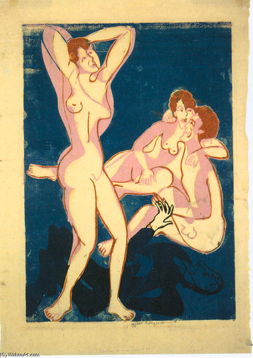 Three Nudes and Reclining Man, 1934 by Ernst Ludwig Kirchner (1880-1938, Germany) | WahooArt.com