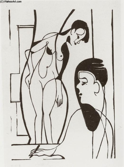 Artist and Female Modell, 1933 by Ernst Ludwig Kirchner (1880-1938, Germany)