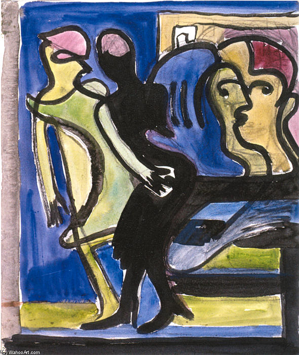 View into a Cafe, 1935 by Ernst Ludwig Kirchner (1880-1938, Germany) | WahooArt.com