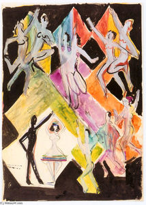 Ernst Ludwig Kirchner - Design for the Wall Painting Colourful Dance