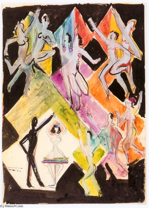 Design for the Wall Painting Colourful Dance, Pencil by Ernst Ludwig Kirchner (1880-1938, Germany)