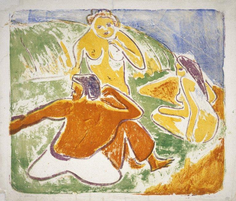 Three Bathers on the Beach, Lithography by Ernst Ludwig Kirchner  (buy Fine Art Framed Print Ernst Ludwig Kirchner)