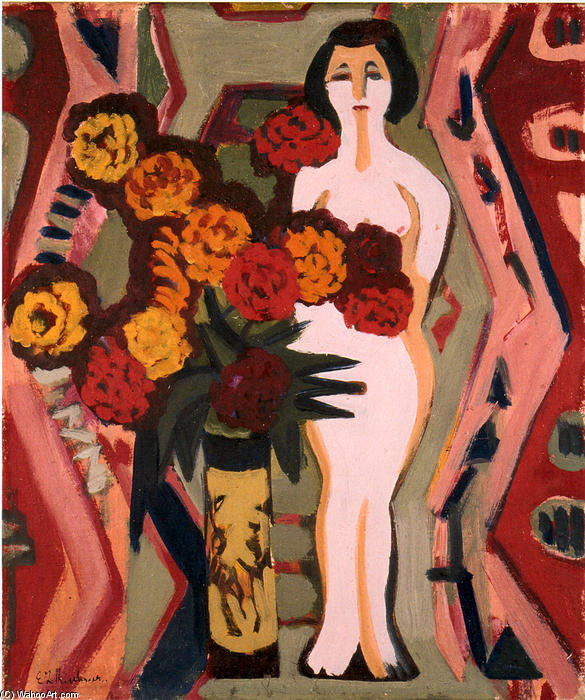 Still Life with Sculpture, 1924 by Ernst Ludwig Kirchner (1880-1938, Germany) | WahooArt.com