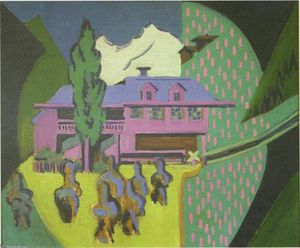 Ernst Ludwig Kirchner - Violett House infront of a Snowy Mountain