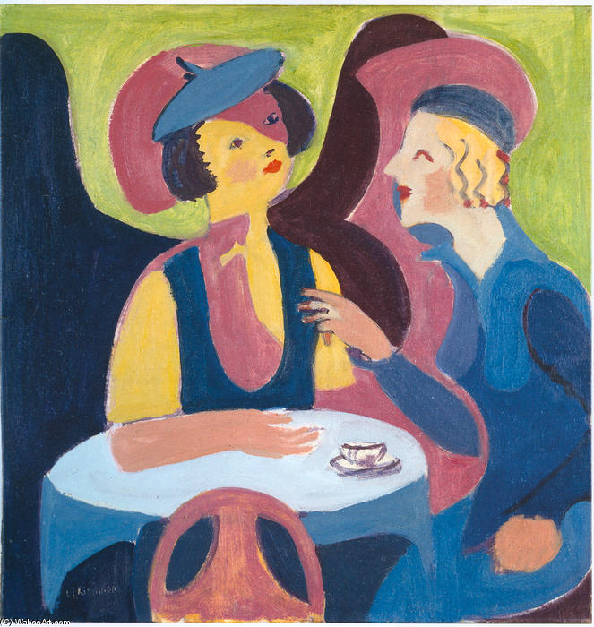 Two Women in a Cafe, Oil On Canvas by Ernst Ludwig Kirchner (1880-1938, Germany)