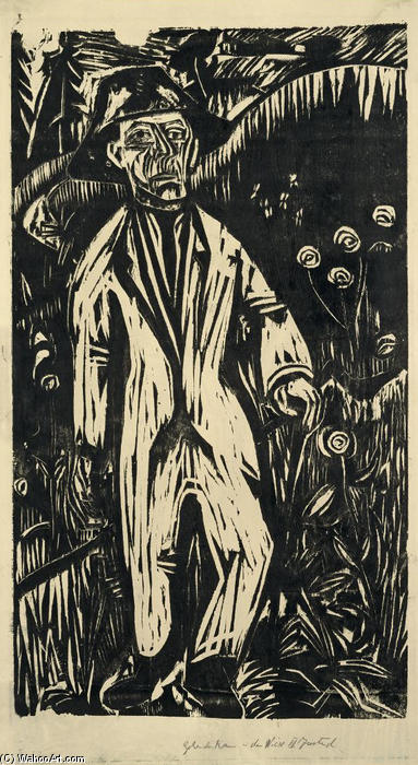 Walking Man in the Meadow, 1922 by Ernst Ludwig Kirchner (1880-1938, Germany)