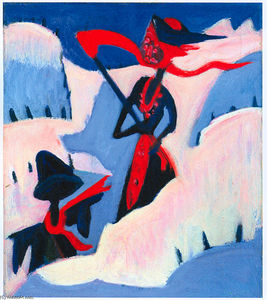 Ernst Ludwig Kirchner - Witch and Scarecrow in the Snow