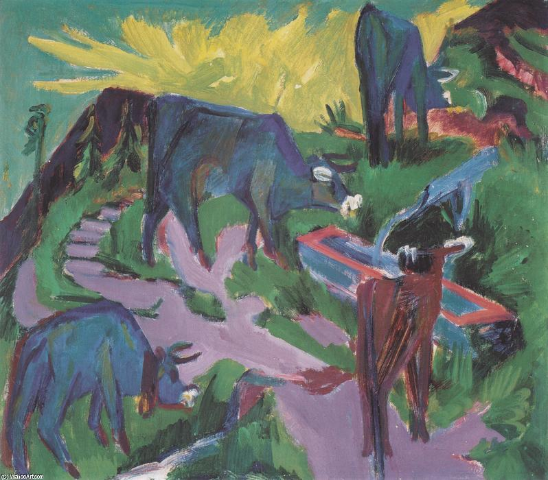 Cows at Sunset, Oil On Canvas by Ernst Ludwig Kirchner (1880-1938, Germany)
