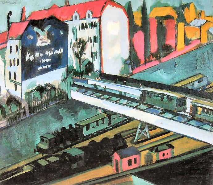 Tram and Rail, 1914 by Ernst Ludwig Kirchner (1880-1938, Germany) | Oil Painting | WahooArt.com