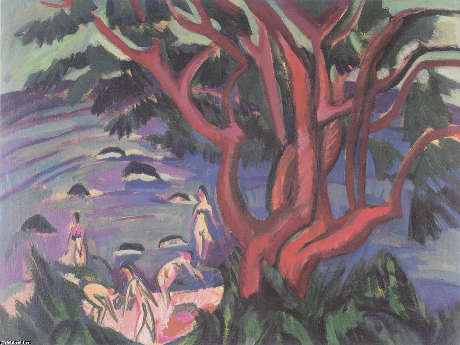 Red Tree on the Beach, Oil On Canvas by Ernst Ludwig Kirchner (1880-1938, Germany)