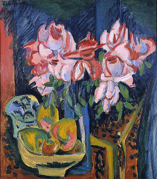 Pink Roses, Oil On Canvas by Ernst Ludwig Kirchner (1880-1938, Germany)