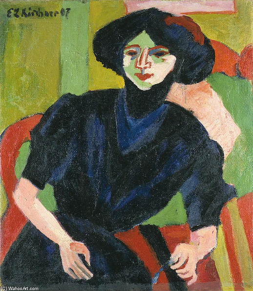 Portrait of a Woman, Oil On Canvas by Ernst Ludwig Kirchner (1880-1938, Germany)