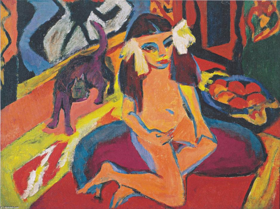 Girl with Cat (Franzi), Oil On Canvas by Ernst Ludwig Kirchner (1880-1938, Germany)