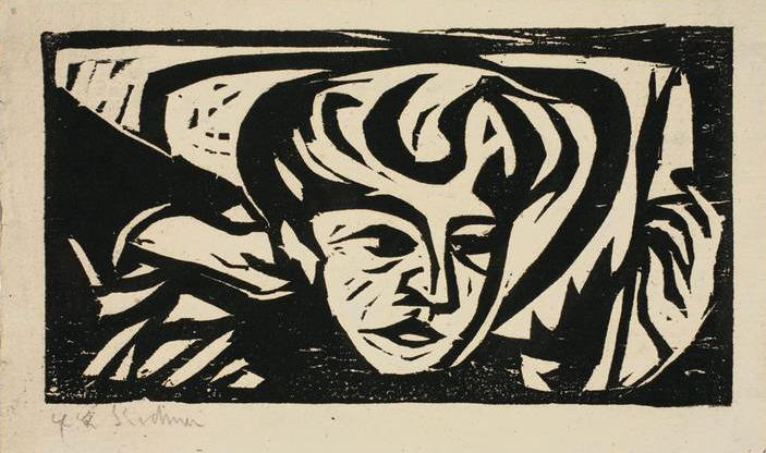 Dodo Head on Pillow, 1906 by Ernst Ludwig Kirchner (1880-1938, Germany)