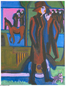 Ernst Ludwig Kirchner - Walking Woman with Dog